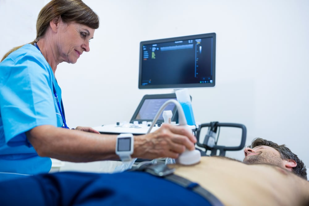 complete abdominal ultrasound scan to check organs and internal structures